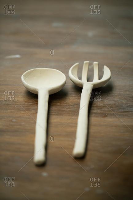 Handicraft clay cutlery