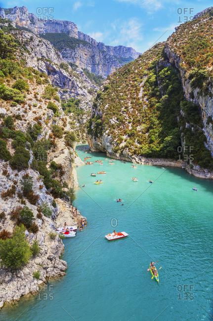 Gorges du Verdon, Provence-Alpes-Cote d'Azur, Provence, France, Europe - July 23, 2017: Lake St. Croix