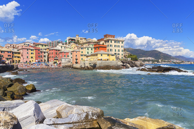 Genoa, Liguria, Italy, Europe - July 25, 2017: The old fishing village of Boccadasse