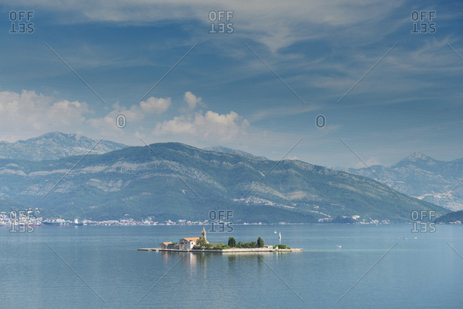 Montenegro, Europe - August 9, 2014: Bay of Tivat has beautiful villages, industrial ports and historic town of Kotor