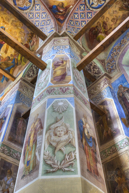 Veliky Novgorod, Novgorod Oblast, Russia, Europe - September 2, 2017: Frescoes, Cathedral, St. Anthony Monastery, UNESCO World Heritage Site