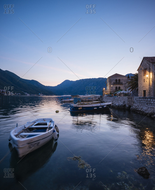 Montenegro, Europe - May 19, 2017: Perast at twilight, Bay of Kotor, UNESCO World Heritage Site