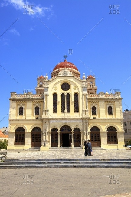 Heraklion, Crete, Greek Islands, Greece, Europe - May 19, 2017: The Metropolitan Church of Agios Minas