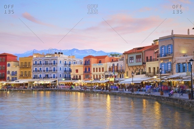 Chania, Crete, Greek Islands, Greece, Europe - May 24, 2017: The Venetian Harbour at dusk