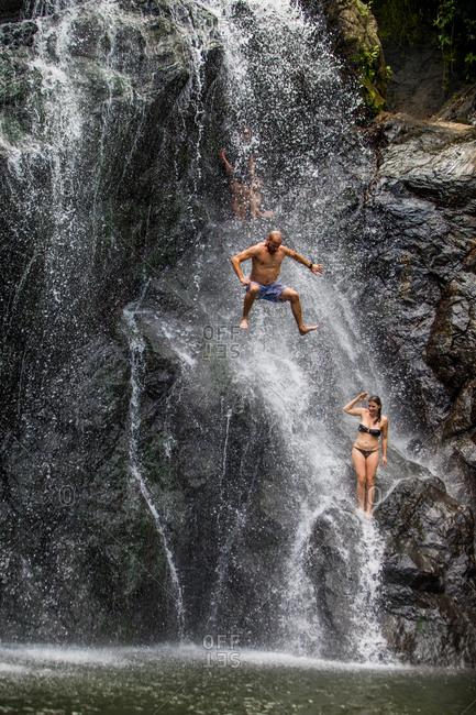 Fiji, South Pacific, Pacific - July 26, 2017: Waterfall jumping