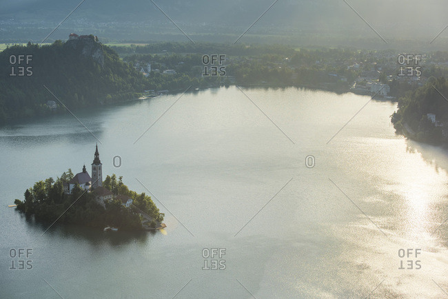Bled, Slovenia, Europe - July 8, 2017: Bled Island and Church of the Assumption of Maria at sunrise,