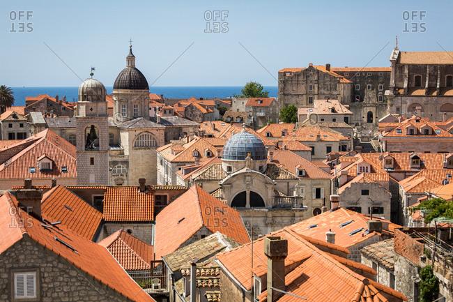 Looking across Dubrovnik's terracotta tiled rooftops, Dubrovnik, Croatia, Europe