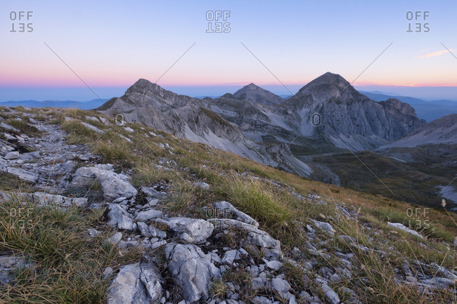 Mountain Portella at sunrise, Gran Sasso e Monti della Laga National Park, Abruzzo, Italy, Europe