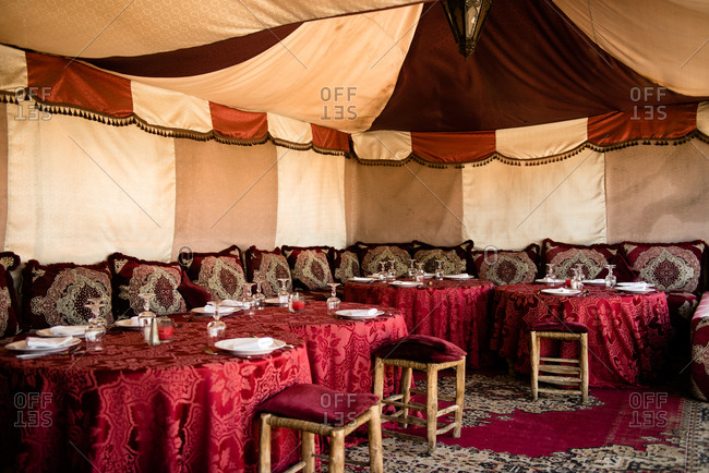 Marrakesh, Morocco - May 6, 2017: Interior of a restaurant inside a tent in Morocco
