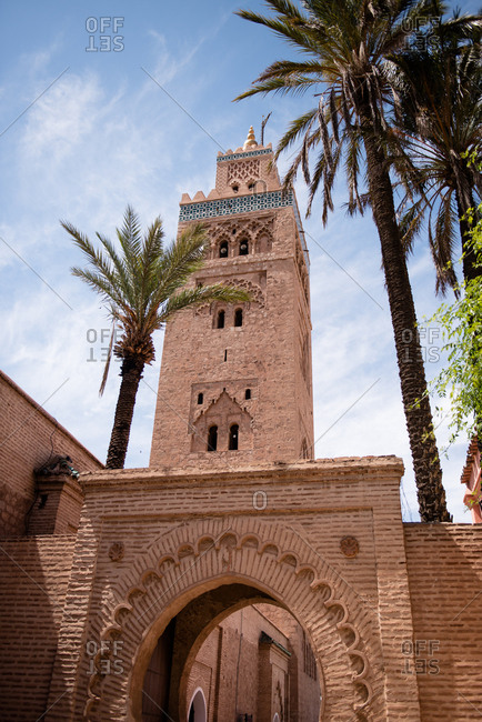 Low angle view of the Koutoubia Mosque in Marrakesh, Morocco