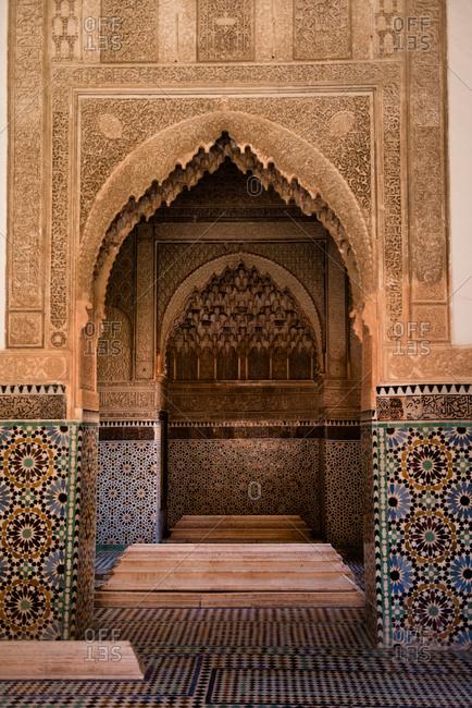 Marrakesh, Morocco - May 6, 2017: The Saadian tombs