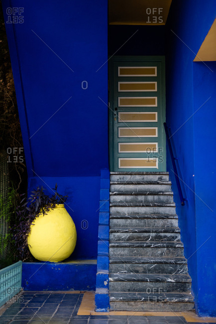 Bright colored exterior of Jardin Majorelle in Marrakech