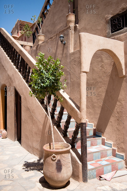 Exterior staircase on a building in Morocco