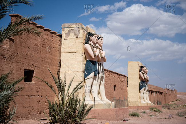 Egyptian statues in Ouarzazate, Morocco