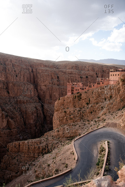Winding road through canyon in Dades Valley, Morocco