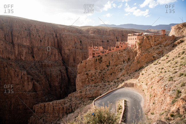 Winding road on hillside in Dades Valley, Morocco