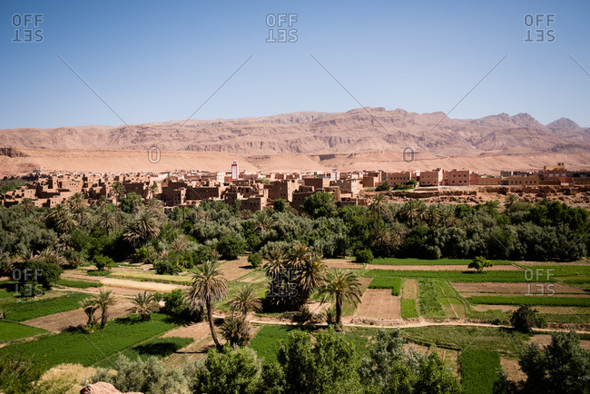 View of Tinerhir village and Todra valley, Atlas Mountain, Morocco