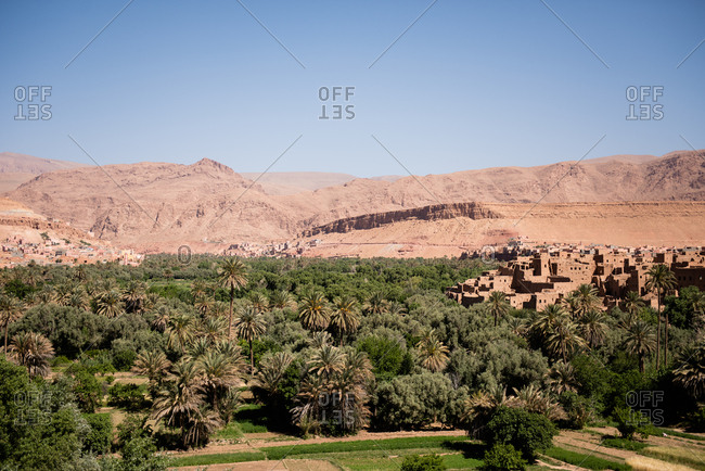 View of the Atlas mountains and Tinerhir village in Morocco