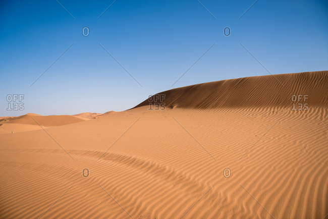 Erg Chebbi under blue skies in Merzouga, Morocco