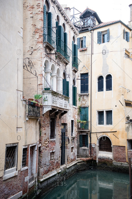 Exterior of homes along the canal in Venice, Italy
