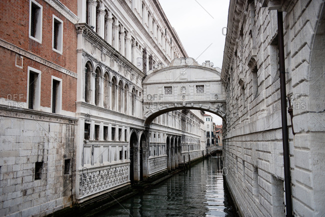 View of the Bridge of Sighs in Venice, Italy