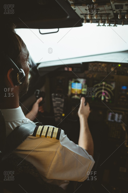 Attentive pilot flying an airplane