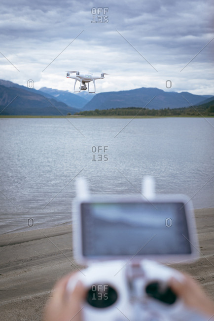 Close-up of  drone operating using a remote control