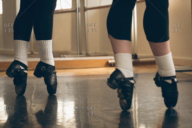 Irish dancer performing tip toe in the studio