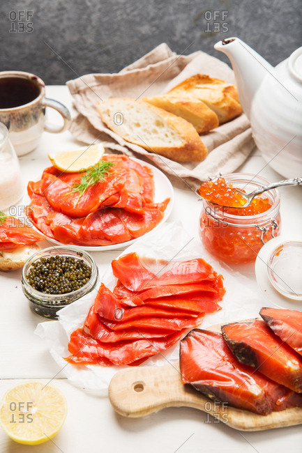 Seafood spread with salmon and caviar