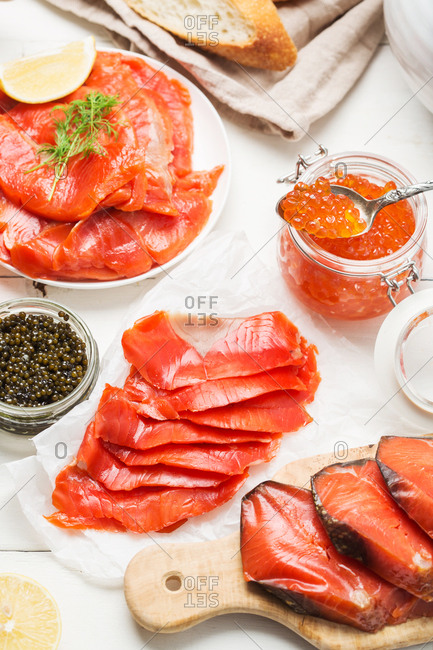 Seafood dinner with salmon and caviar