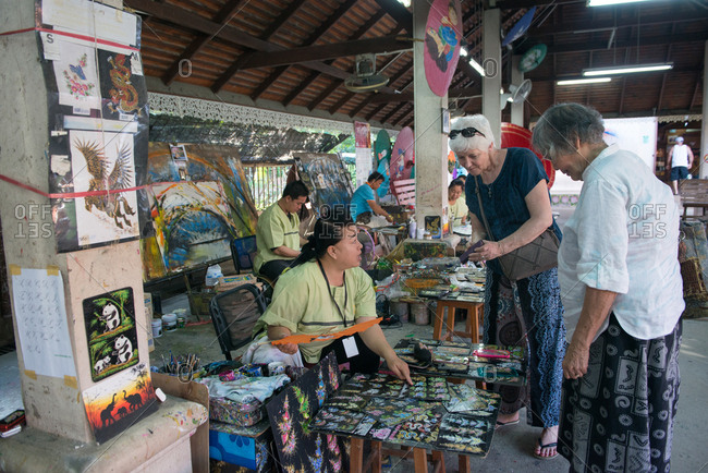 Chiang Mai, Thailand - November 24, 2017: Tourist shopping