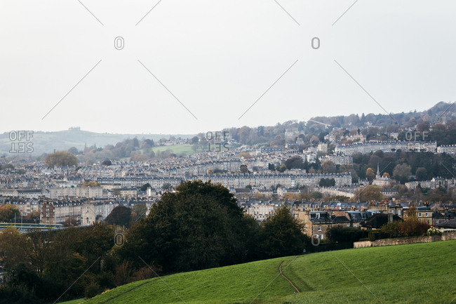 Bath, England - October 31, 2017: View over the city seen from Bathwick Hill