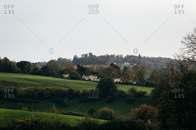 Hillside houses in the English countryside