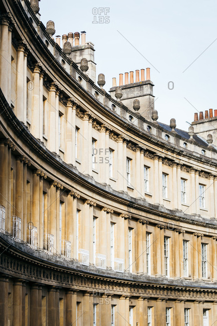 Exterior of curved building in Bath, England