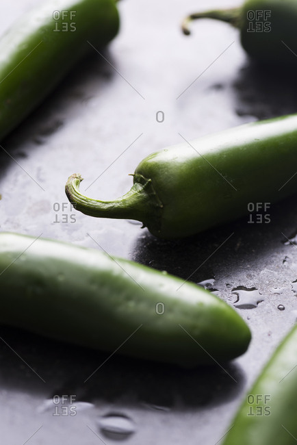 Close-up of whole jalapeno peppers