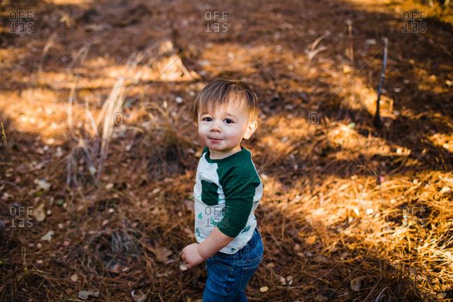 Toddler walking outdoors in autumn