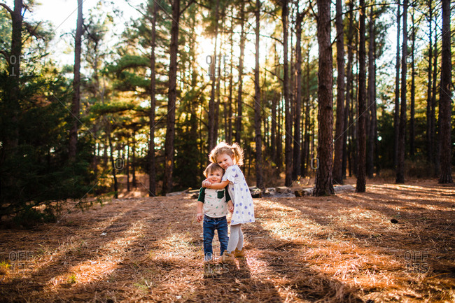Girl hugging her toddler brother in a forest