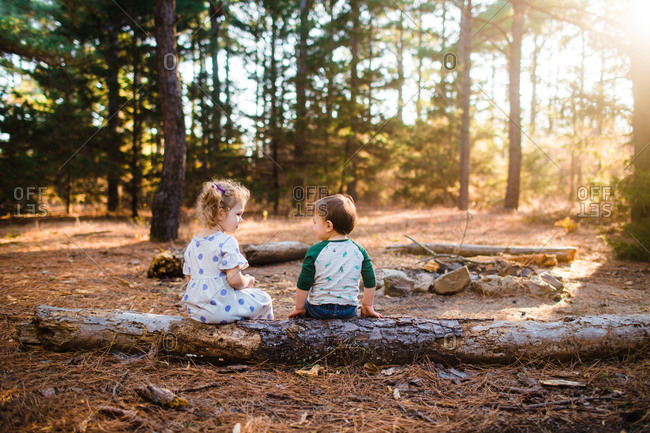 Two young kids sitting on a log in the forest