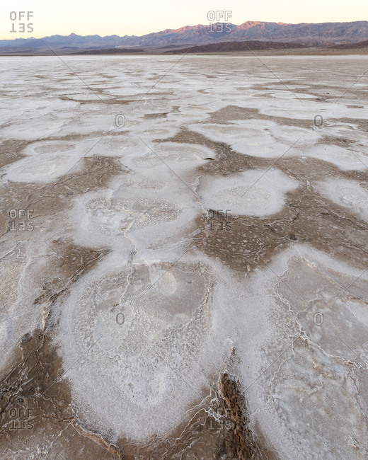 Evaporated salt formations in Death Valley National Park, California