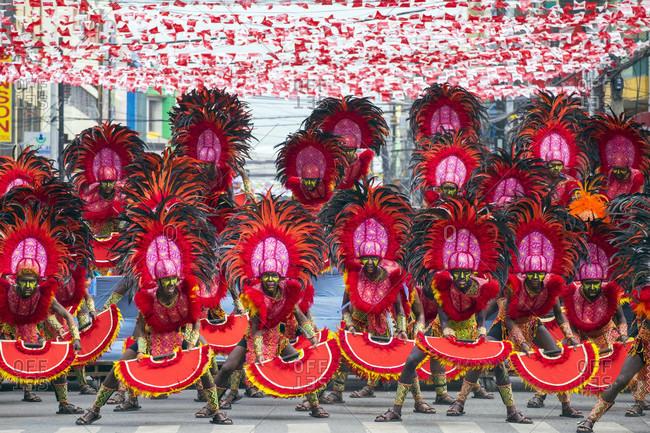 Iloilo City, Western Visayas, Philippines - January 25, 2015: Ati warriors from Tribu Baybayanon at 2015 Dinagyang Festival