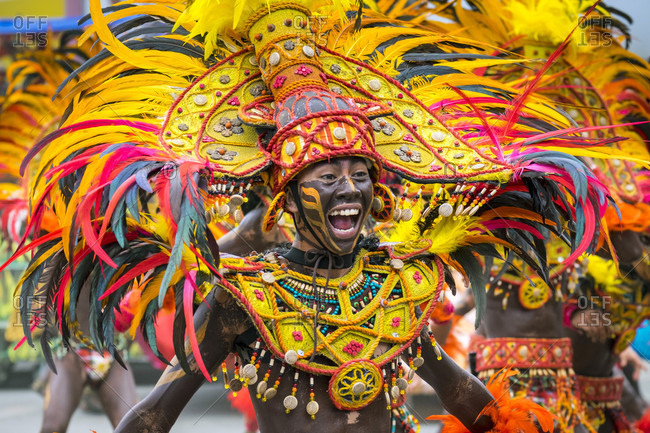 Iloilo City, Western Visayas, Philippines - January 25, 2015: Member of Tribu Panayanon during 2015 Dinagyang Festival