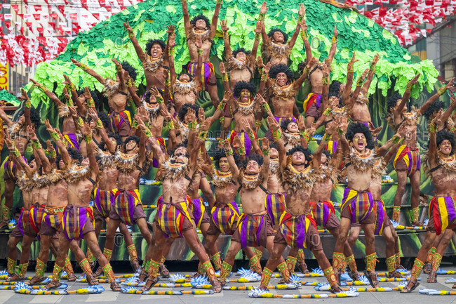 Iloilo City, Western Visayas, Philippines - January 25, 2015: Tribu Paghidaet performing at Dinagyang Festival