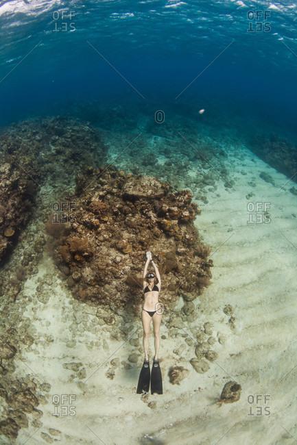 West End, West Bay, Roatan, Honduras - May 30, 2013: Woman floating, free diving underwater off coast of Roatan Islands reef