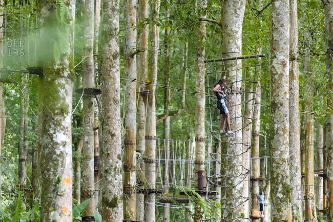 Kintamani, Bali, Indonesia - May 9, 2017: A girl ties into a zip line at a treetop Adventure Park