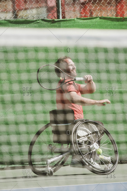 Tenerife, Canary Island, Spain - February 9, 2017: Austrian paralympic tennis player playing on tennis court