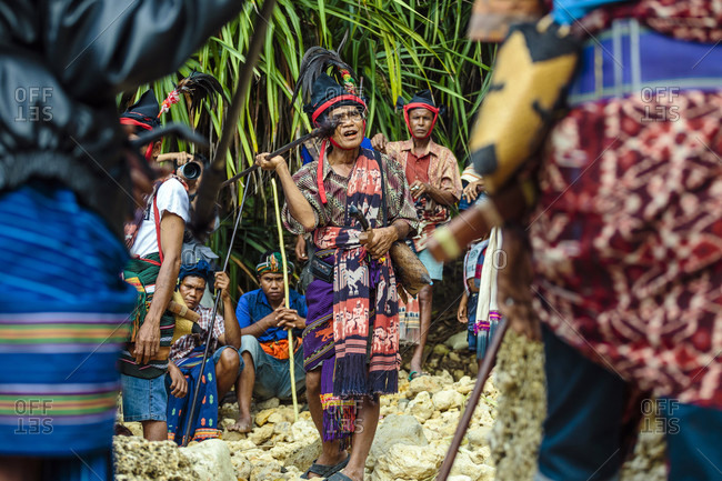 Sumba, Indonesia - December 12, 2017: Man with spear participating in ceremony before Pasola festival