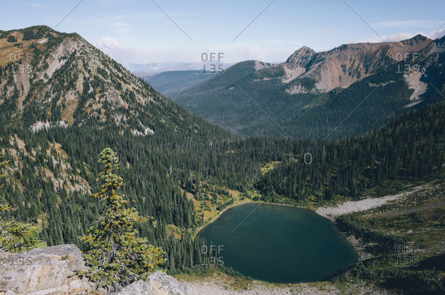 View of Hopkins Lake, near the Canadian border, Pasayten Wilderness, Washington.