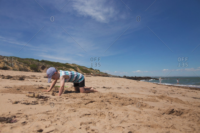 Little boy digging in sand on a beach