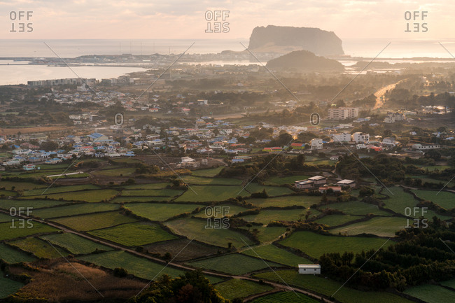 Scenic view of town and countryside on Jeju Island in South Korea
