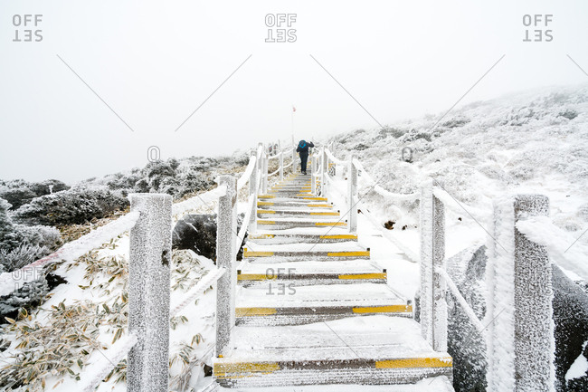 Snow covered stairs leading up the slope of Hallasan on Jeju Island